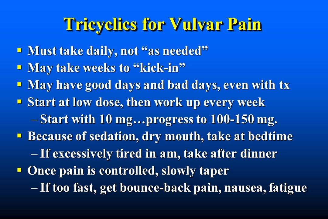 Tricyclics for Vulvar Pain