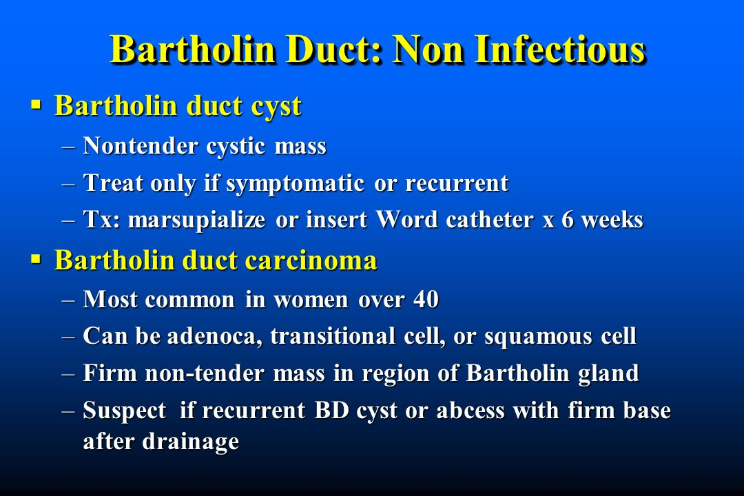 Bartholin Duct: Non Infectious