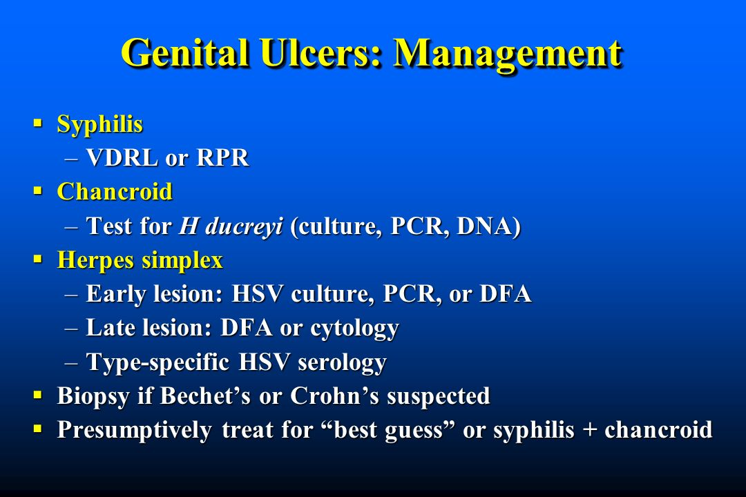 Genital Ulcers: Management