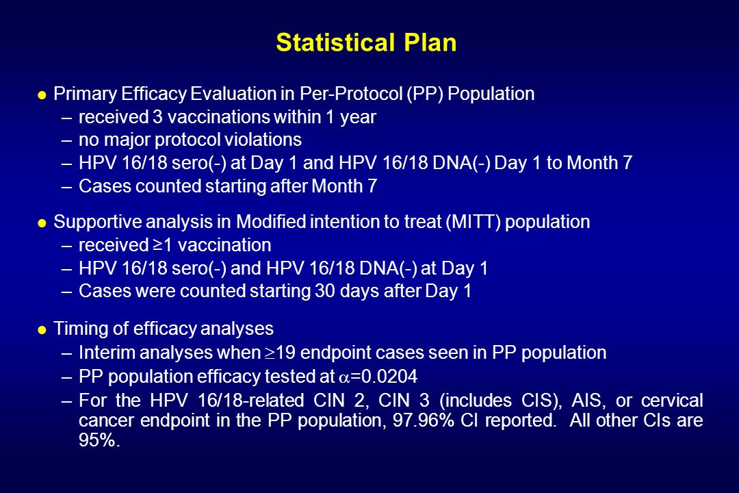 Statistical Plan Primary Efficacy Evaluation in Per-Protocol (PP) Population. received 3 vaccinations within 1 year.