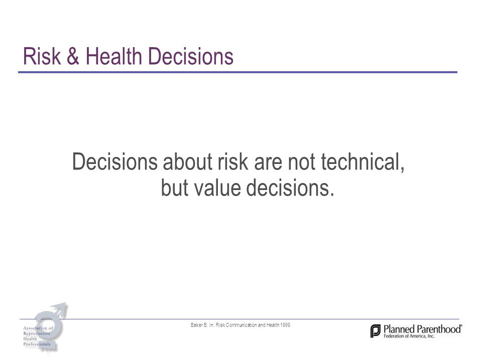 Risk & Health Decisions