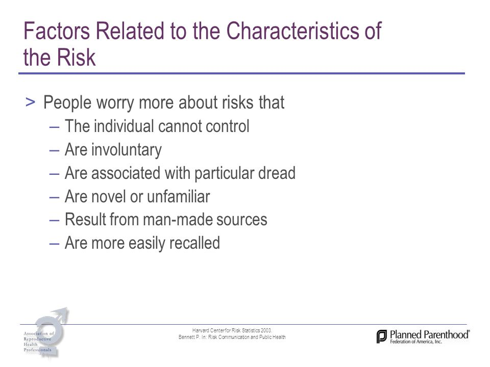 Factors Related to the Characteristics of the Risk