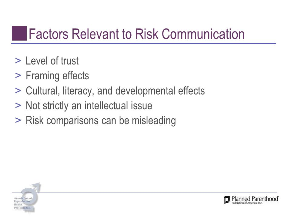 Factors Relevant to Risk Communication