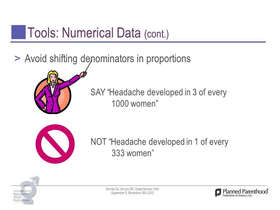 Tools: Numerical Data (cont.)