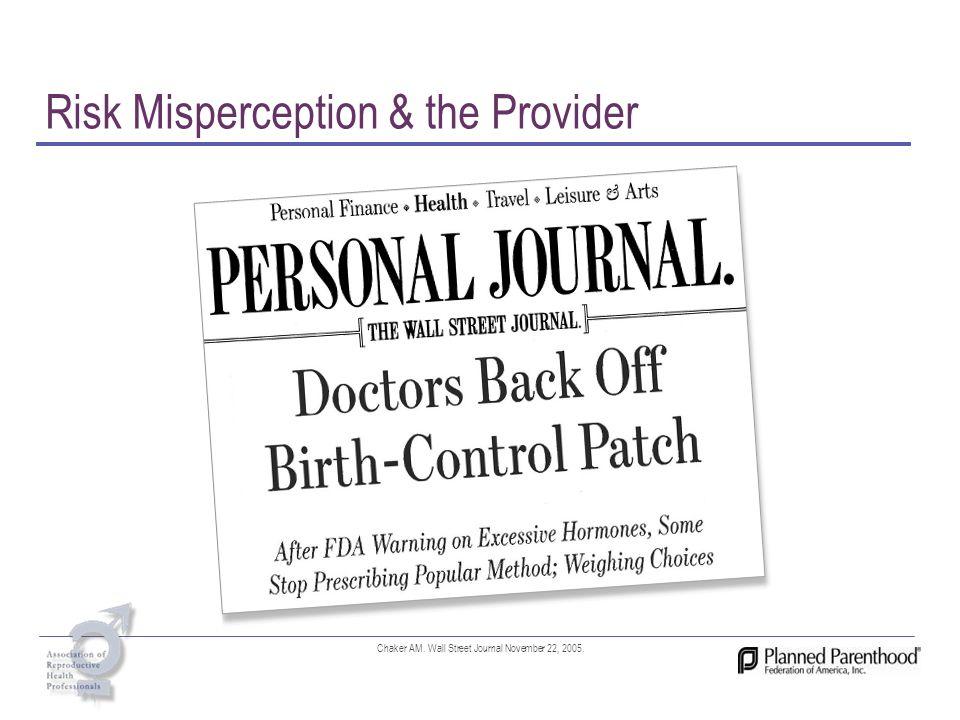 Risk Misperception & the Provider