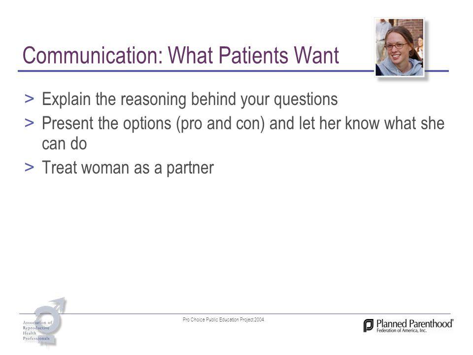 Communication: What Patients Want