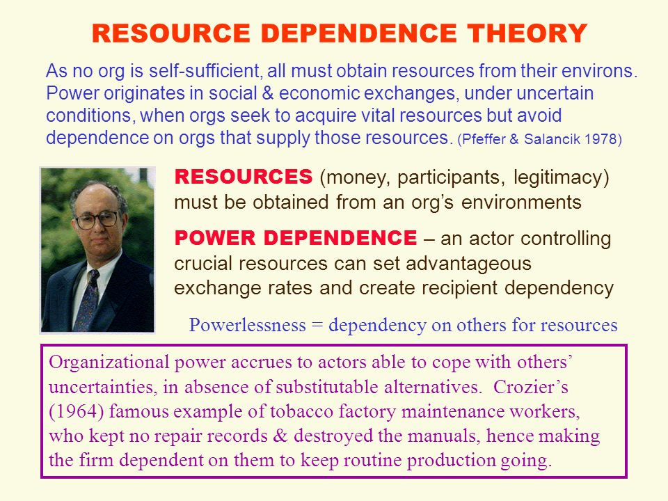 comparison of structural contingency theory and resource dependence theory For positivist organization theory:  'contingency theory and public  the external control of organizations: a resource dependence perspective.