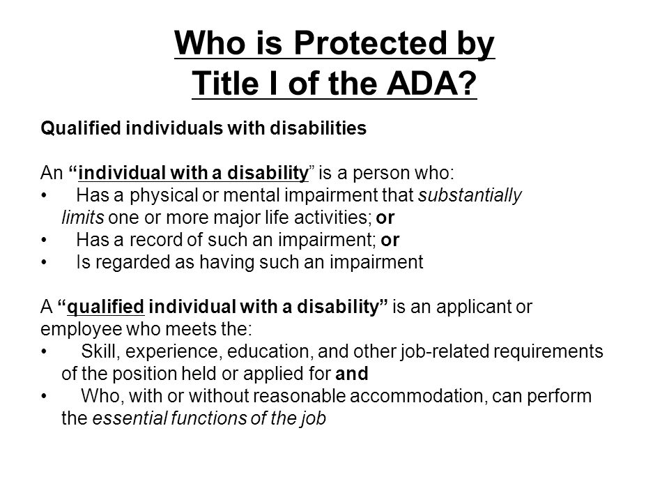 Who is Protected by Title I of the ADA