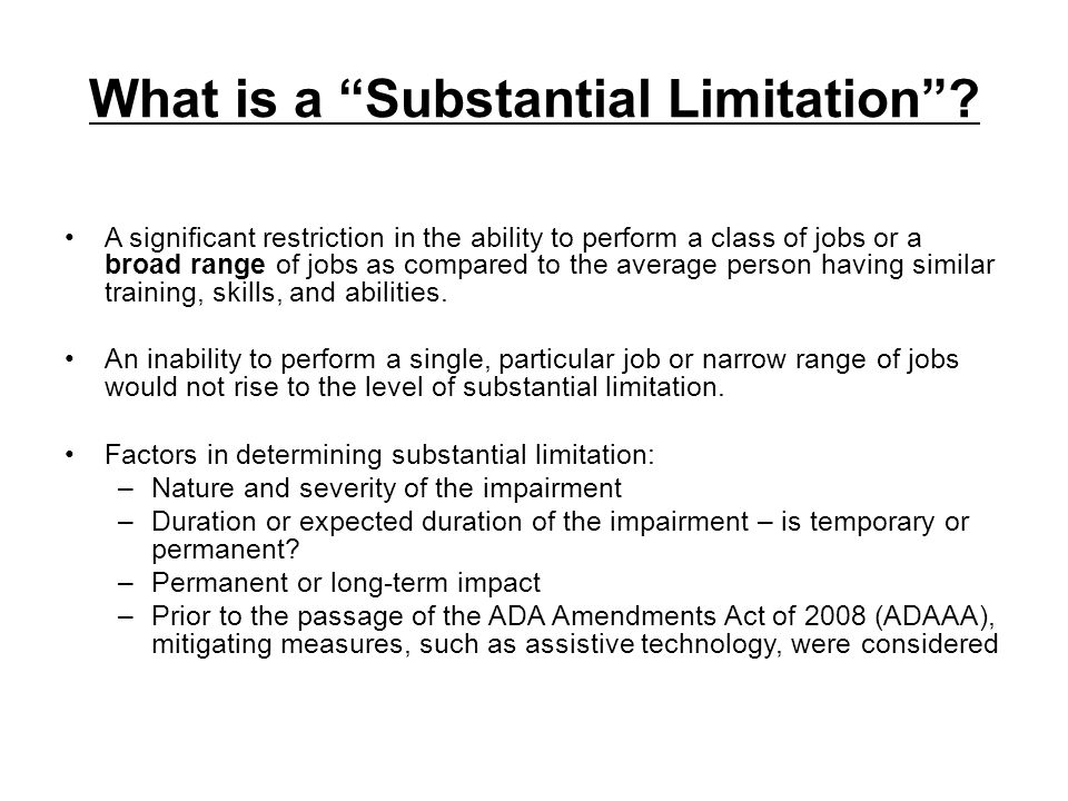 What is a Substantial Limitation