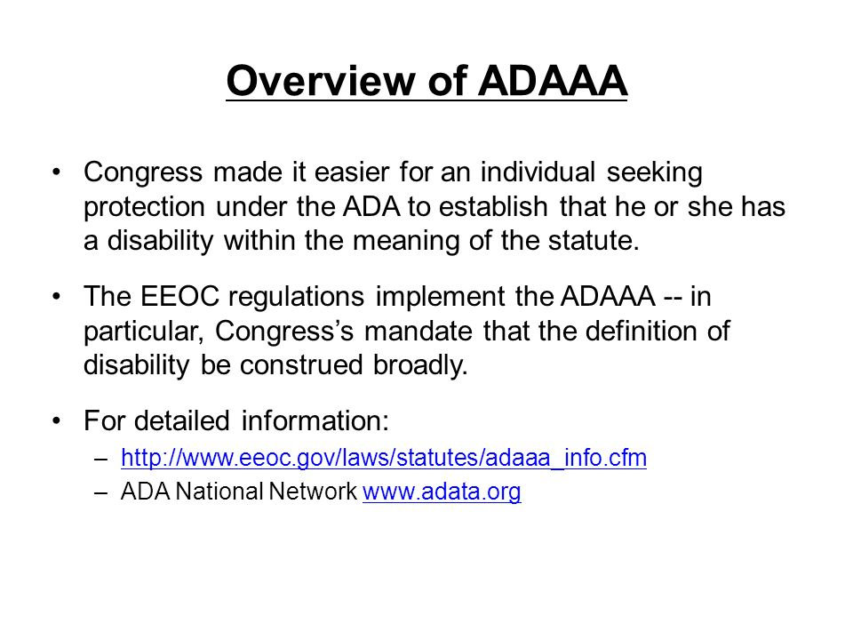 Overview of ADAAA