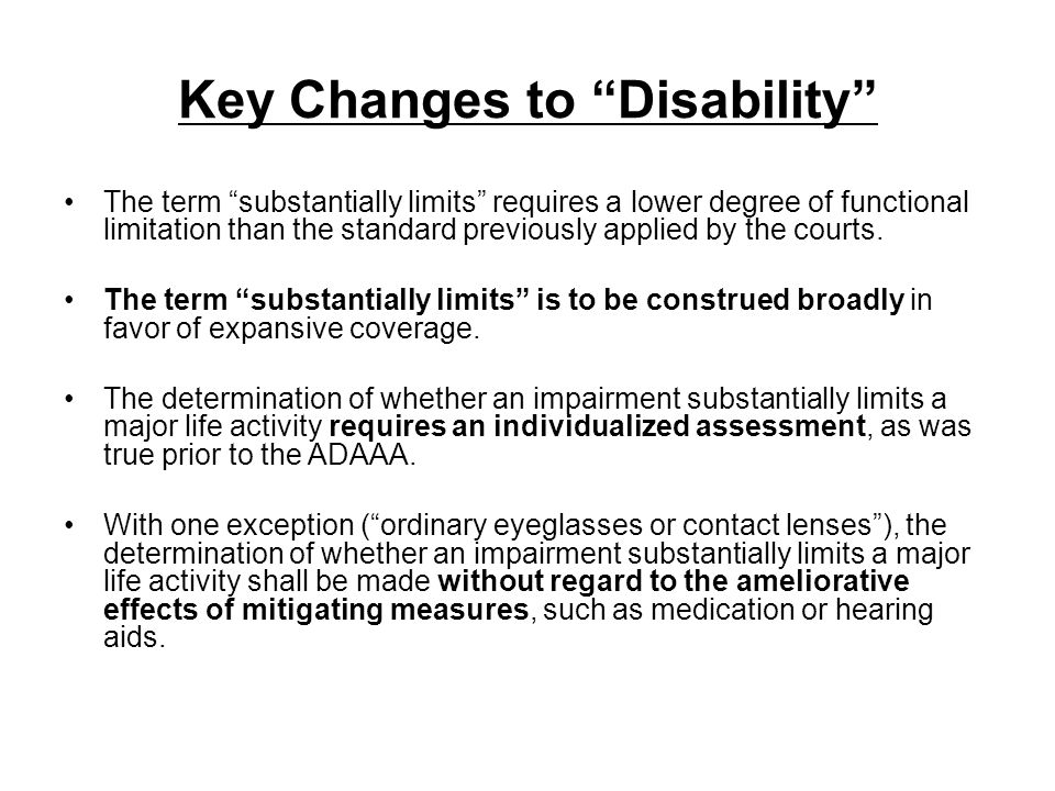 Key Changes to Disability