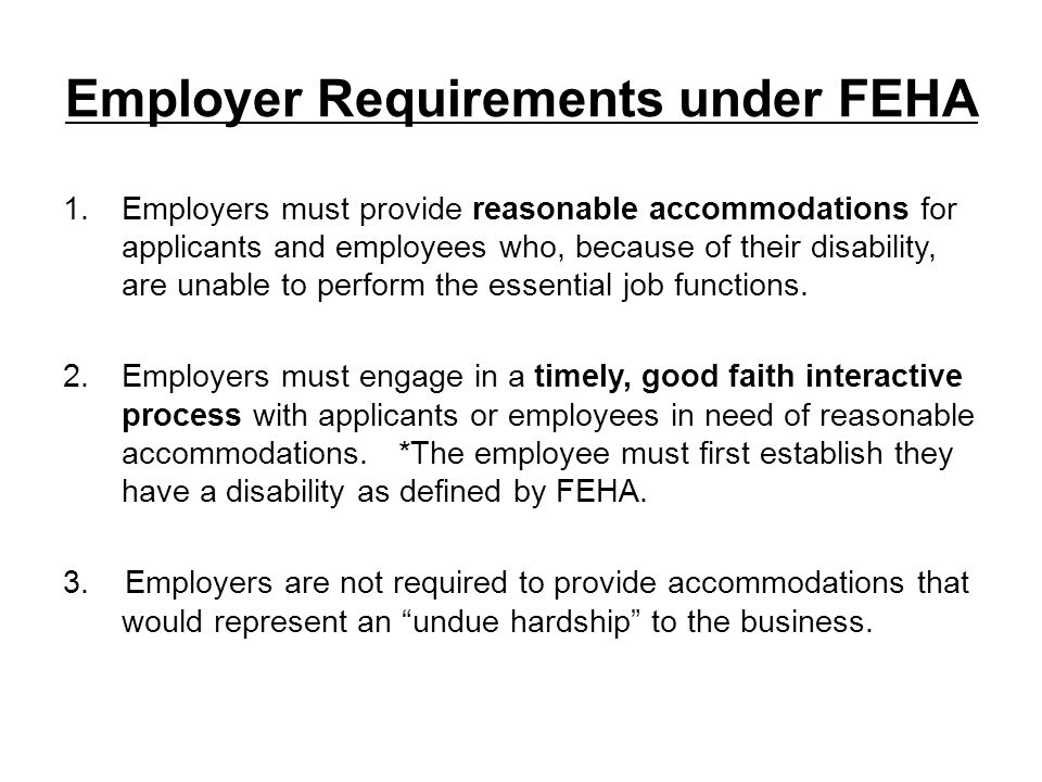Employer Requirements under FEHA