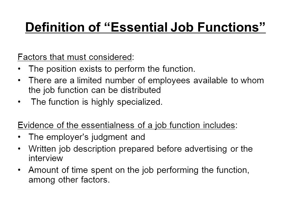 Definition of Essential Job Functions
