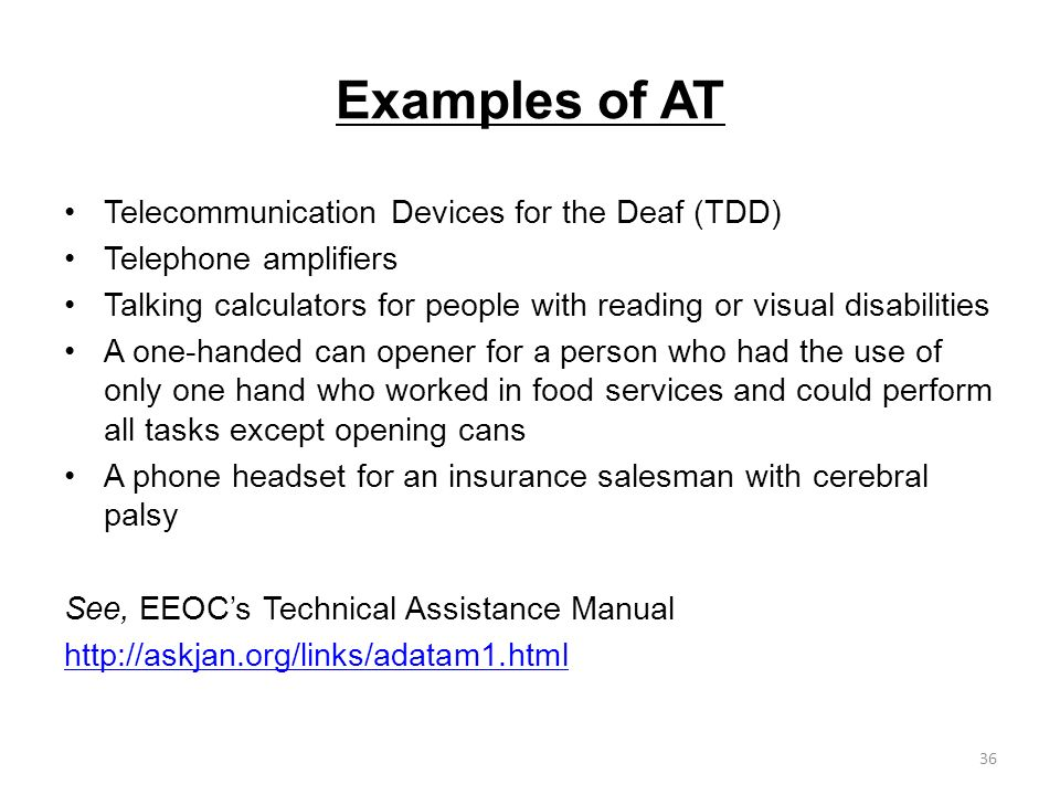 Examples of AT Telecommunication Devices for the Deaf (TDD)
