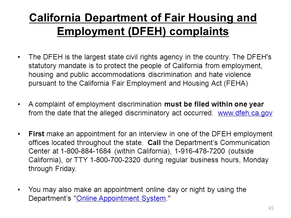 California Department of Fair Housing and Employment (DFEH) complaints
