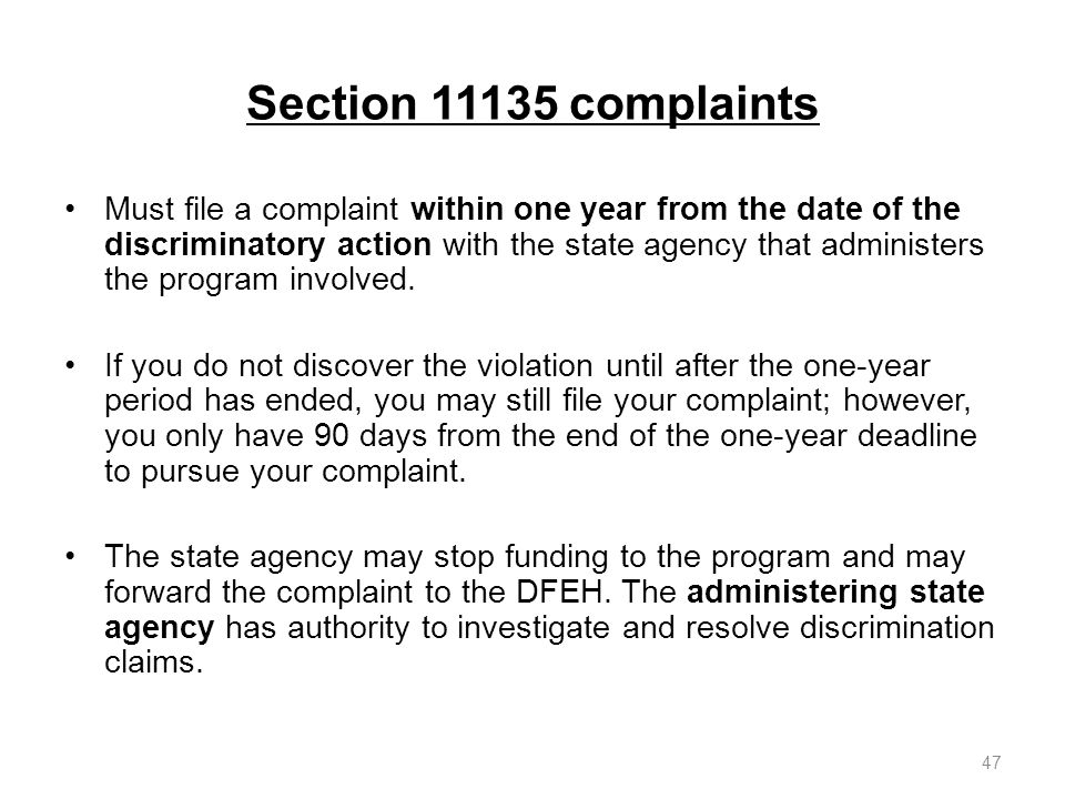 Section 11135 complaints