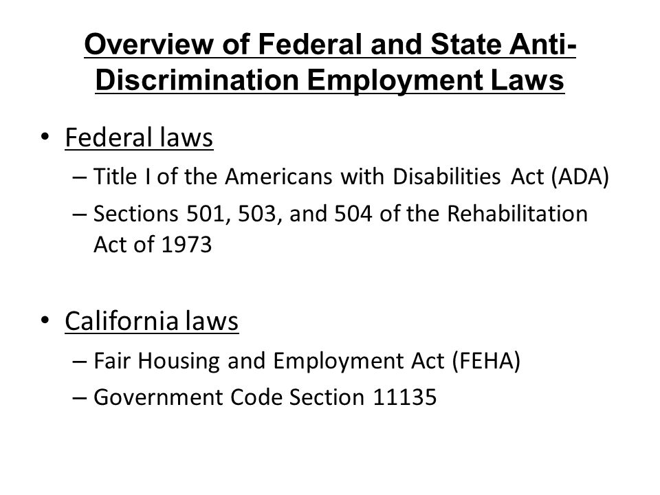 Overview of Federal and State Anti-Discrimination Employment Laws