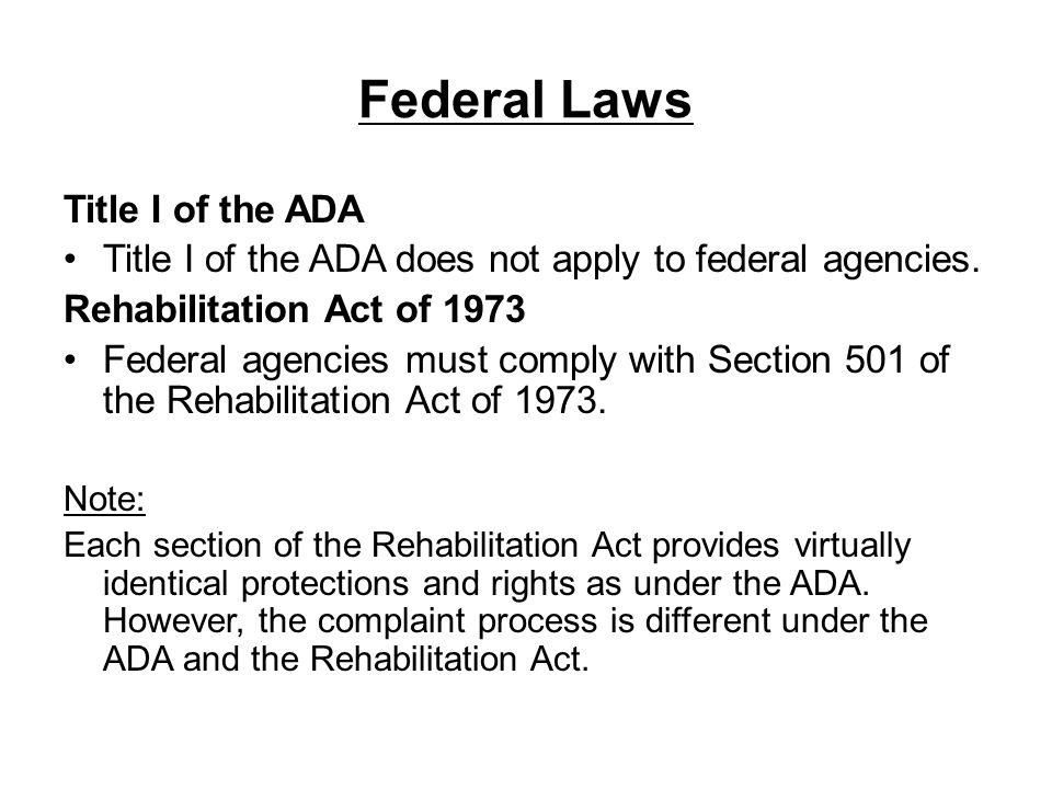 Federal Laws Title I of the ADA