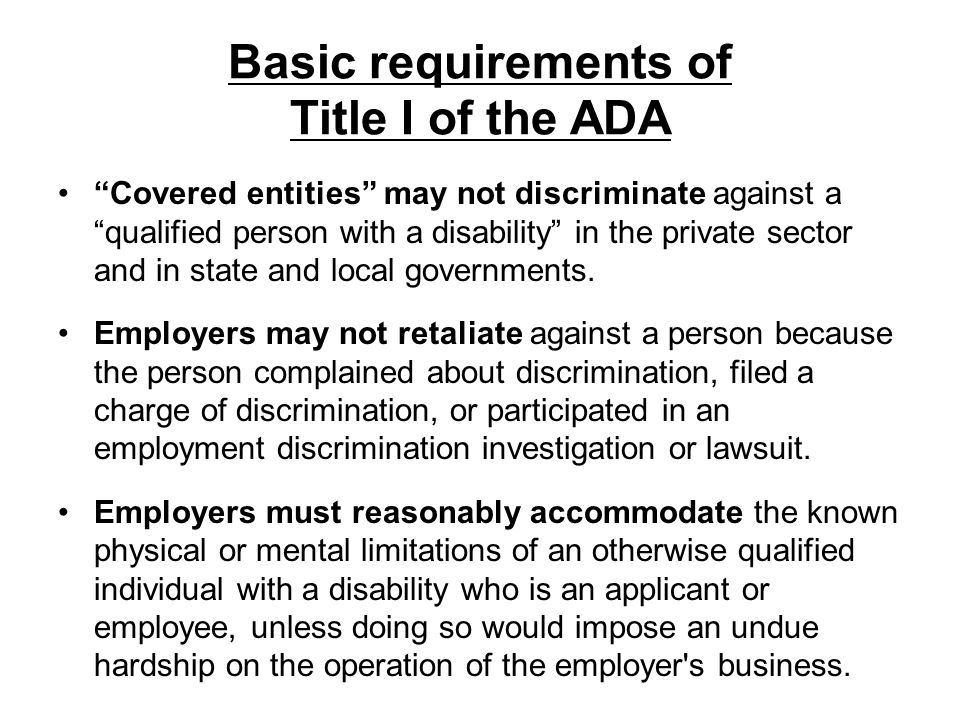 Basic requirements of Title I of the ADA