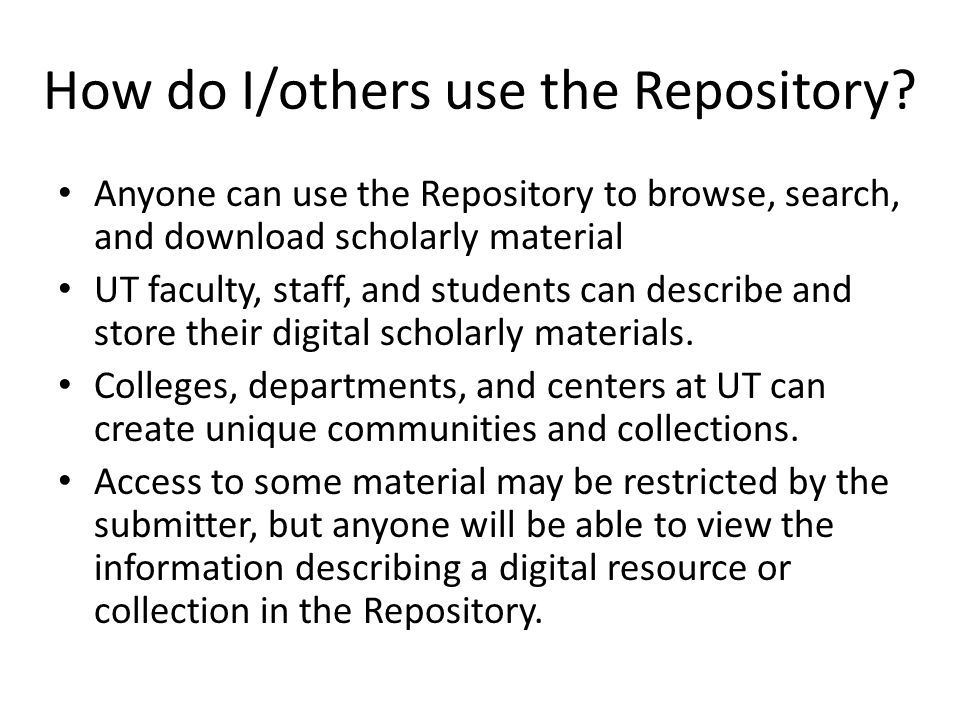 How do I/others use the Repository