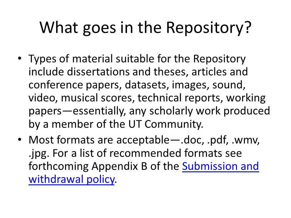 What goes in the Repository