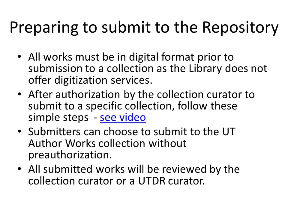 Preparing to submit to the Repository