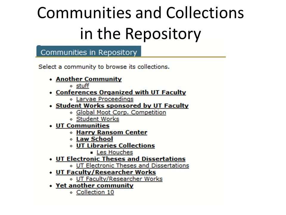 Communities and Collections in the Repository