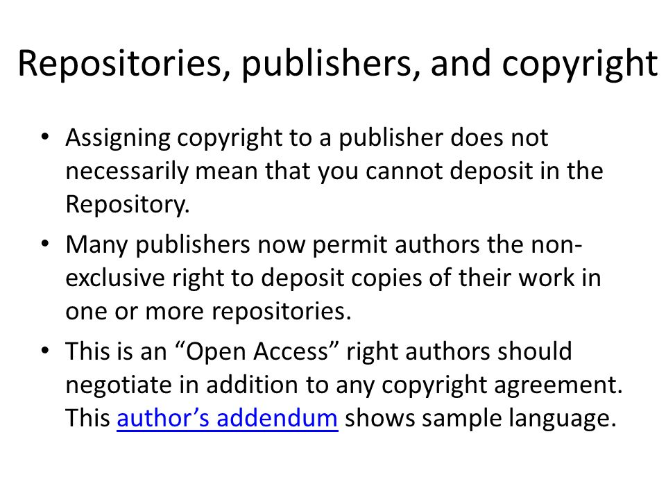 Repositories, publishers, and copyright