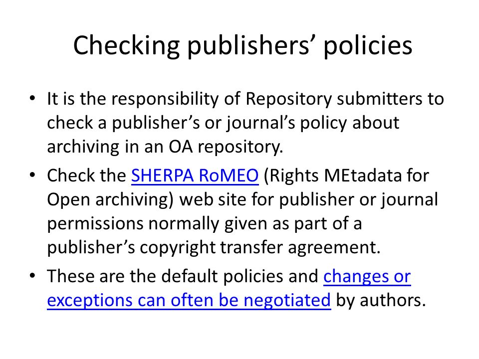 Checking publishers' policies
