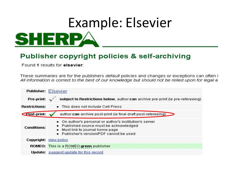 Example: Elsevier