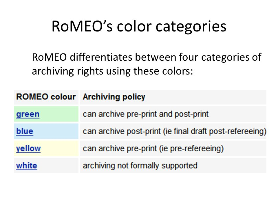 RoMEO's color categories