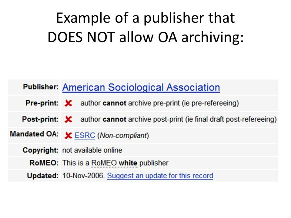 Example of a publisher that DOES NOT allow OA archiving: