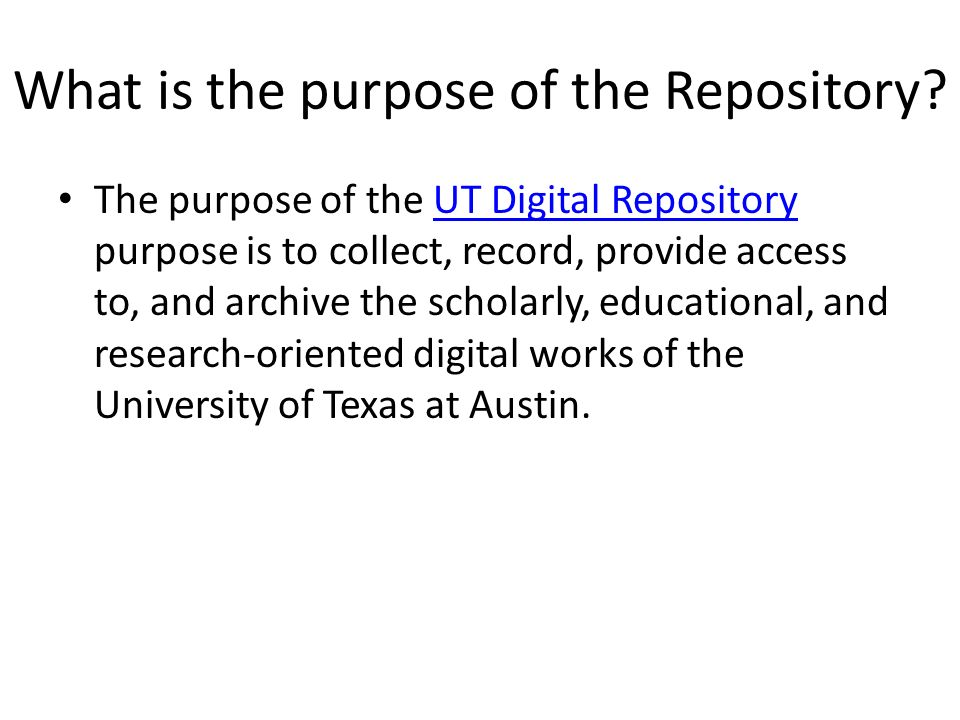 What is the purpose of the Repository