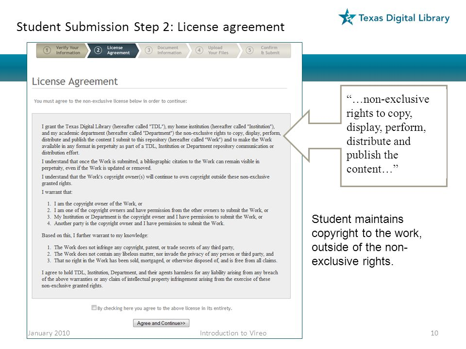 Student Submission Step 2: License agreement