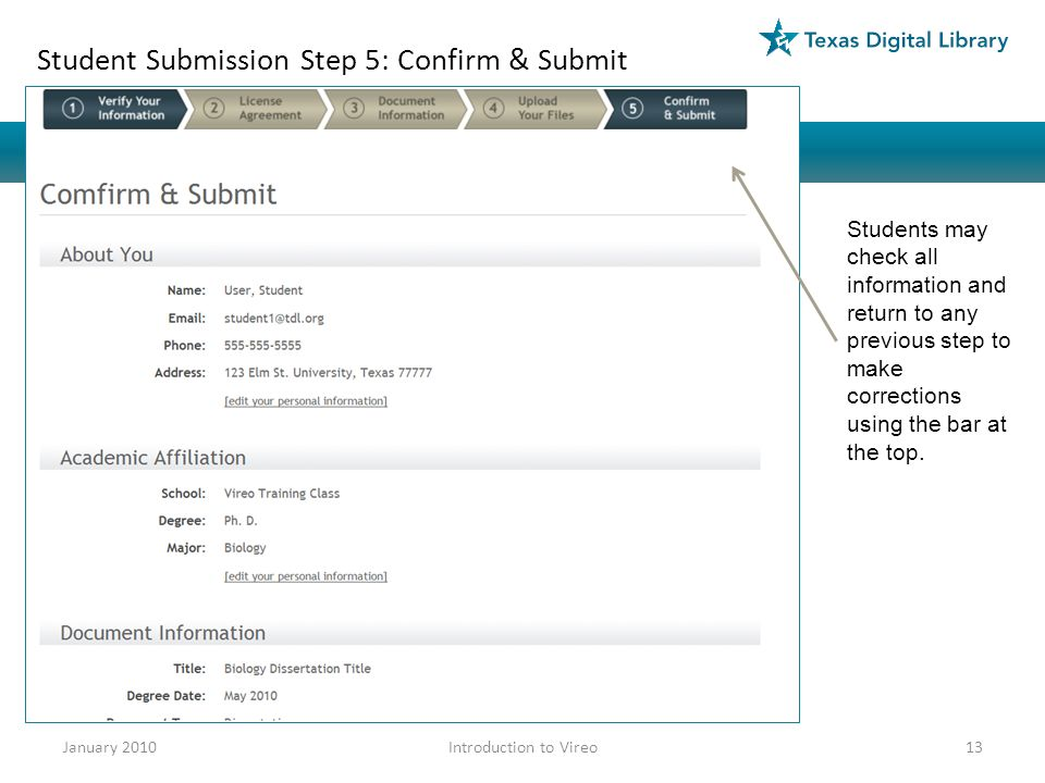 Student Submission Step 5: Confirm & Submit