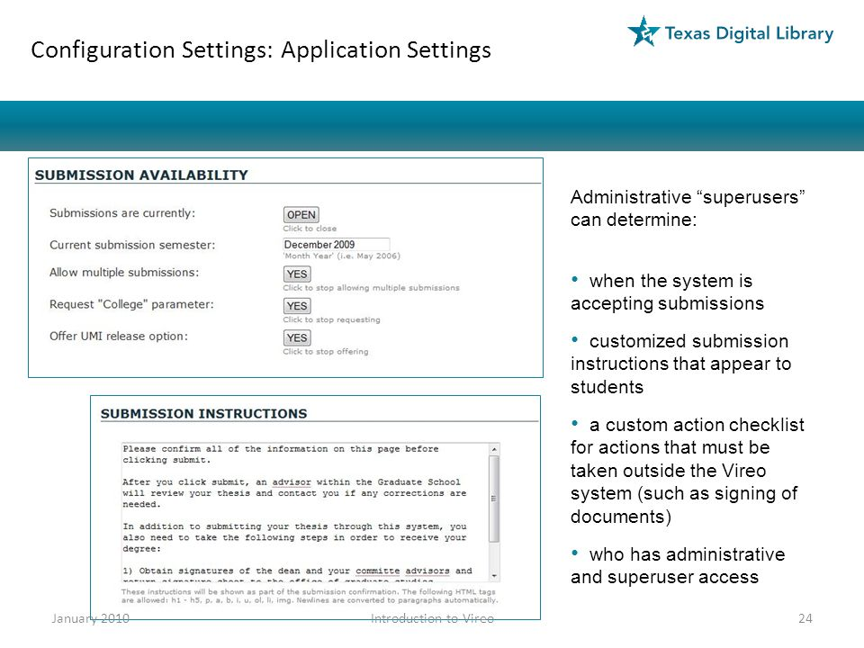 Configuration Settings: Application Settings