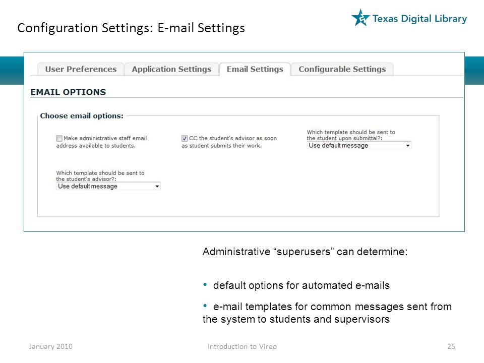 Configuration Settings: E-mail Settings