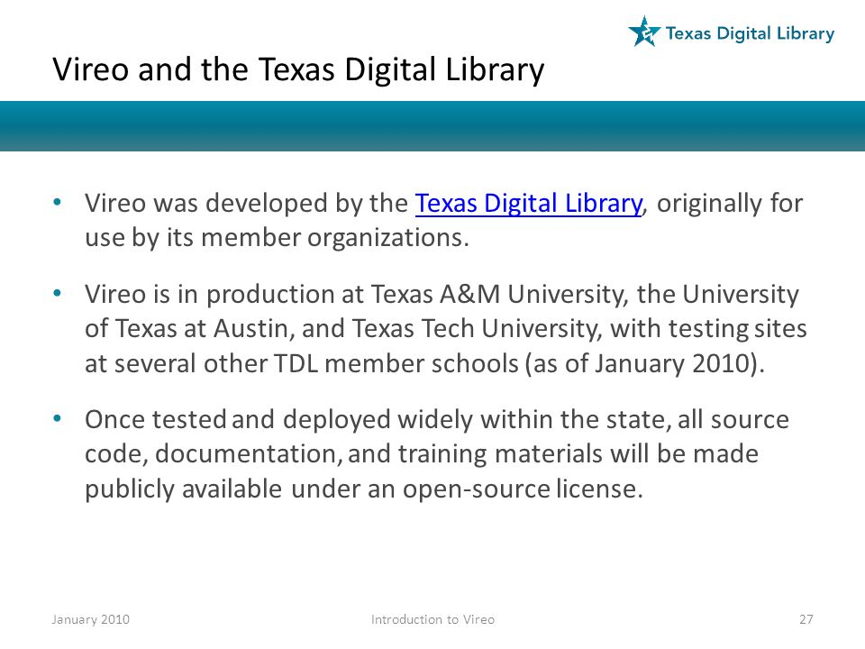 Vireo and the Texas Digital Library