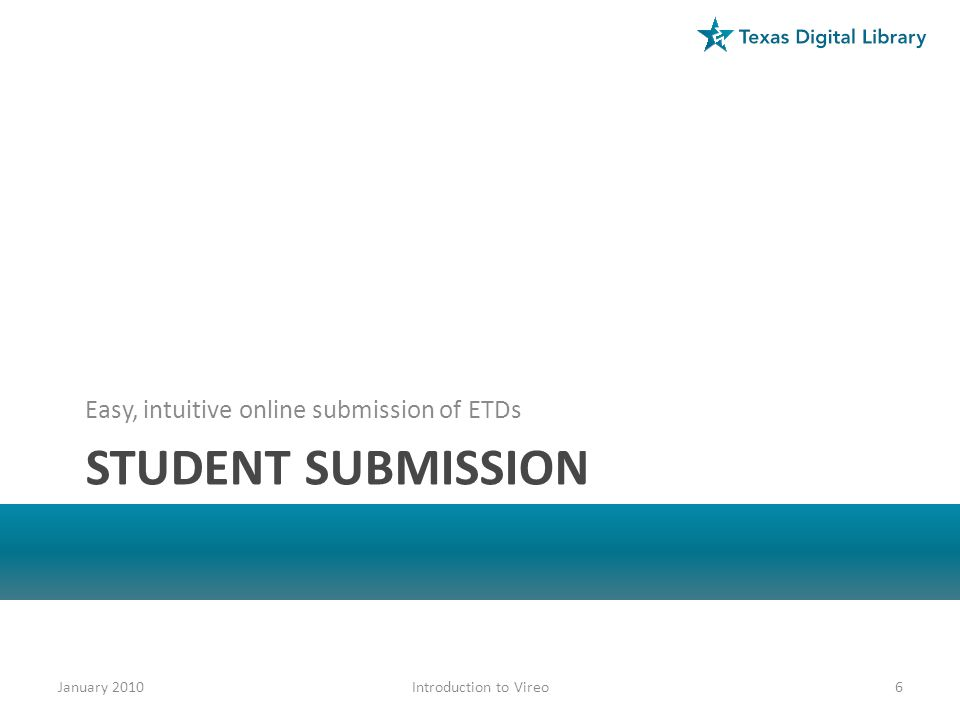 Student submission Easy, intuitive online submission of ETDs