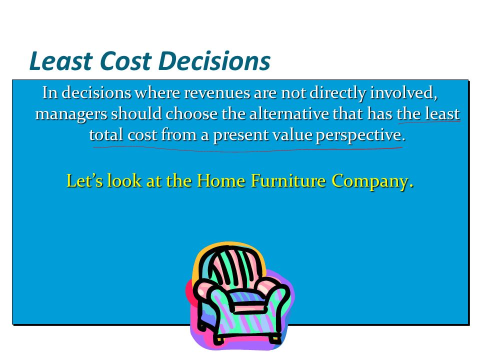 Let s look at the Home Furniture Company. Capital Budgeting and Cost Analysis   ppt download