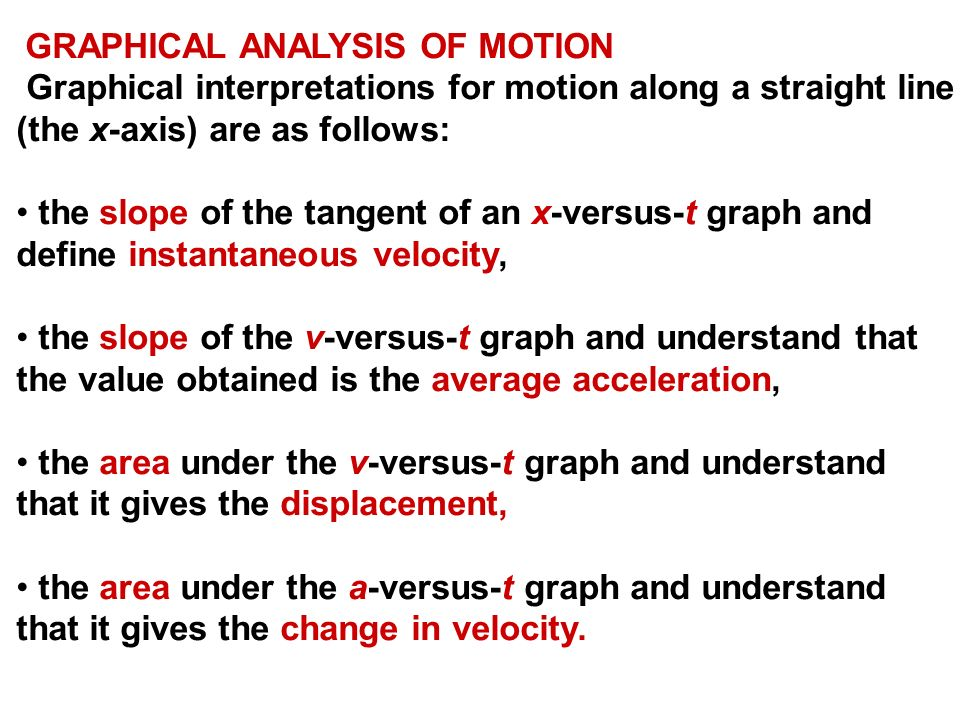 motion and graphical analysis What you've just done is make a qualitative assessment of the graph and used it  to describe the motion of the object with qualitative graphing you are.