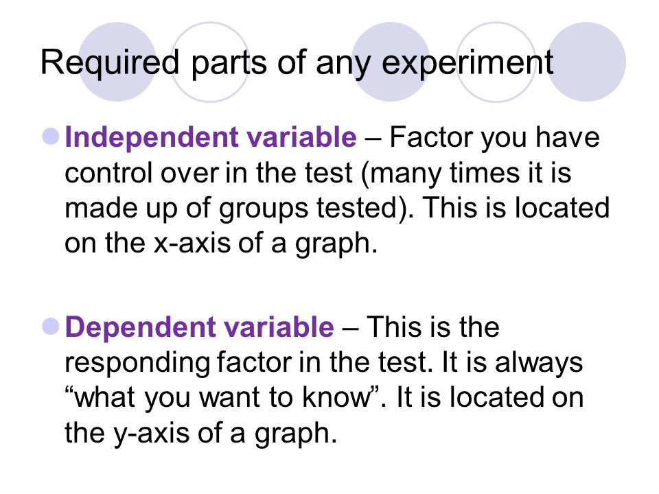 Required parts of any experiment