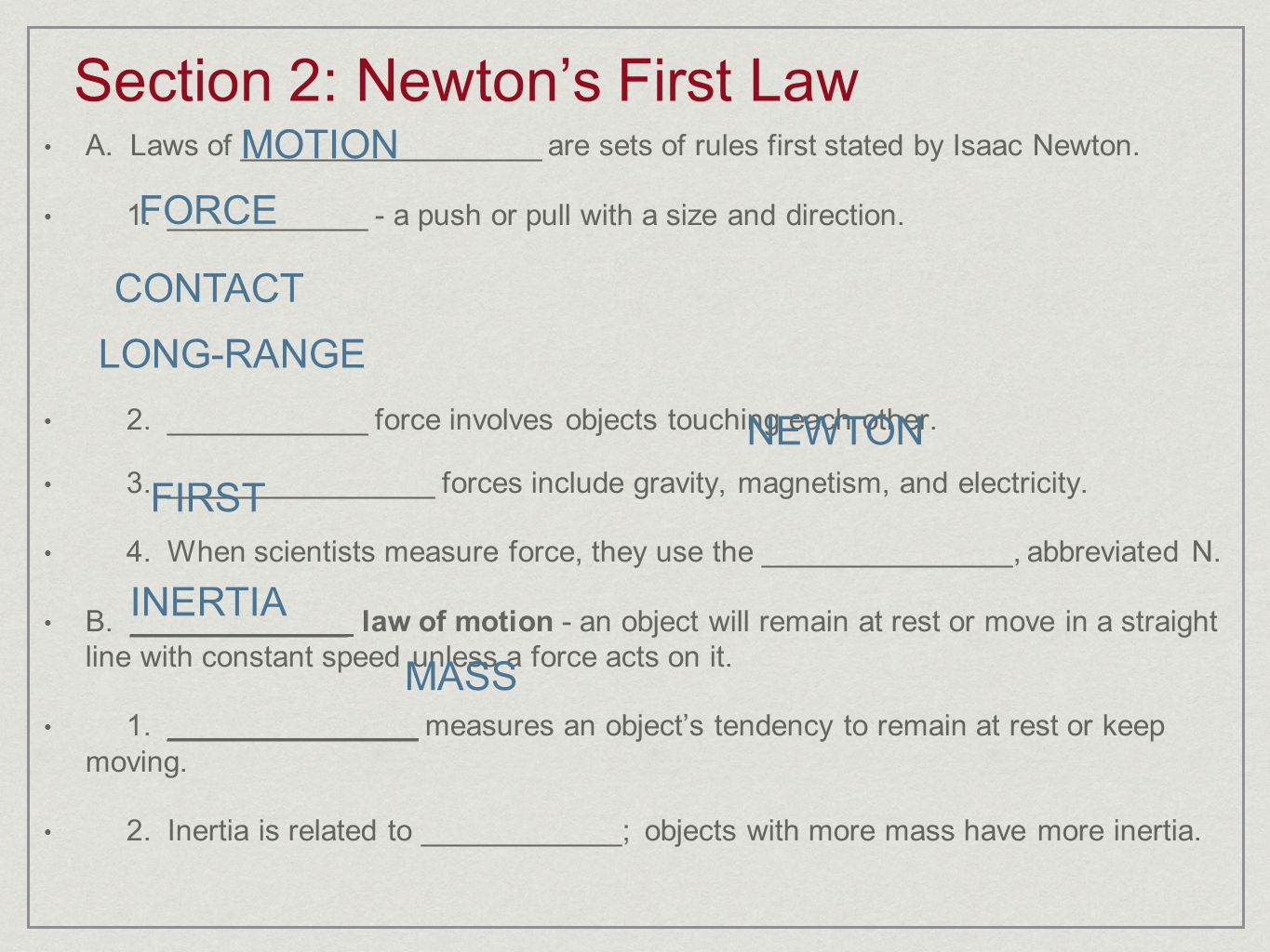 worksheet Laws Of Motion Worksheet newtons laws of motion ppt video online download section 2 first law