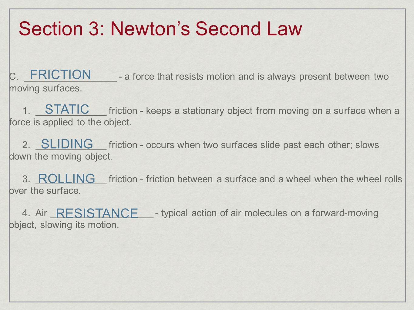 Section 3: Newton's Second Law