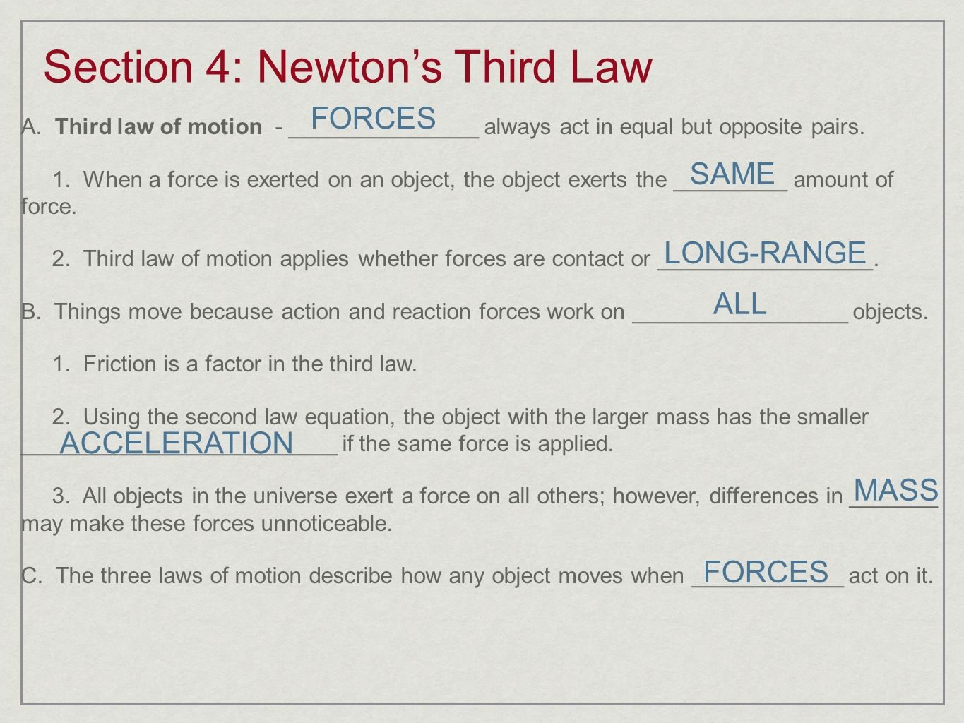 Section 4: Newton's Third Law