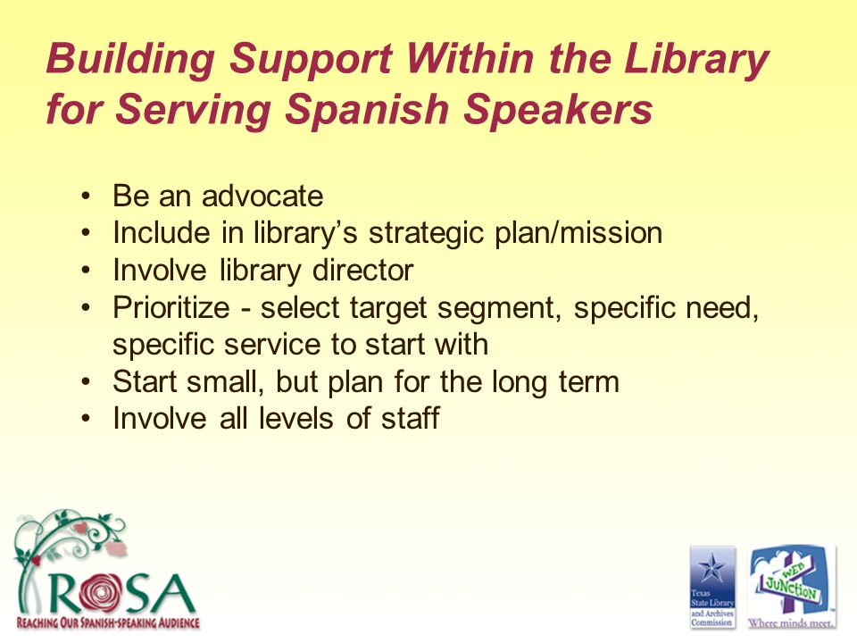Building Support Within the Library for Serving Spanish Speakers