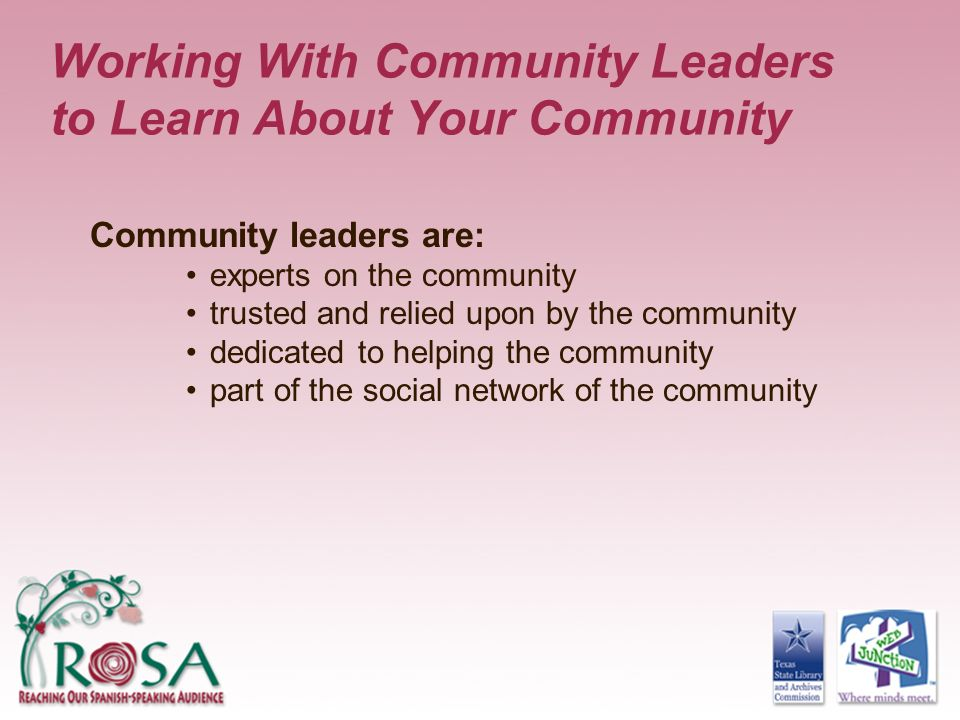 Working With Community Leaders to Learn About Your Community