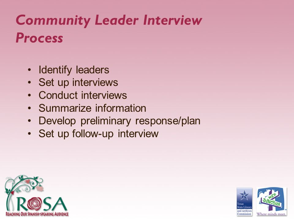 Community Leader Interview Process