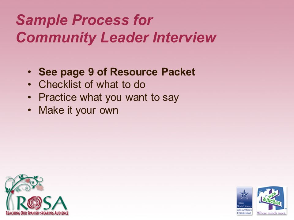 Sample Process for Community Leader Interview