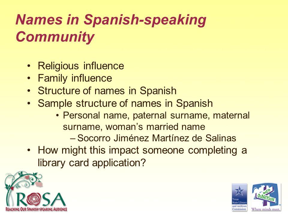 Names in Spanish-speaking Community